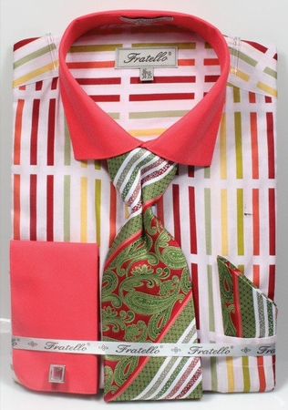 Fratello Mens Coral Multi French Cuff Dress Shirt Tie Set FRV4133P2 - click to enlarge