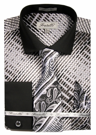 Fratello Mens French Cuff Dress Shirts Tie Set Black Pattern FRV4134P2 - click to enlarge