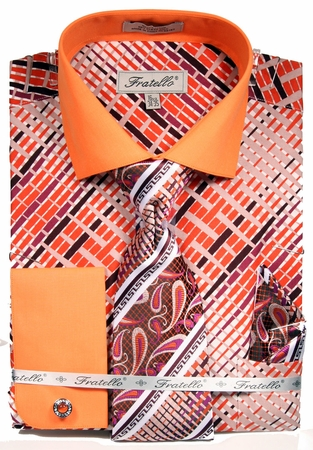Fratello Mens French Cuff Dress Shirts Tie Set Orange Pattern FRV4134P2 - click to enlarge