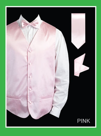 Mens Pink Tuxedo Vest and Bow Tie Set Satin VS801 - click to enlarge