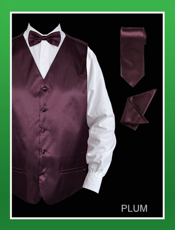 Mens Plum  Color Tuxedo Vest and Bow Tie Satin VS801 - click to enlarge