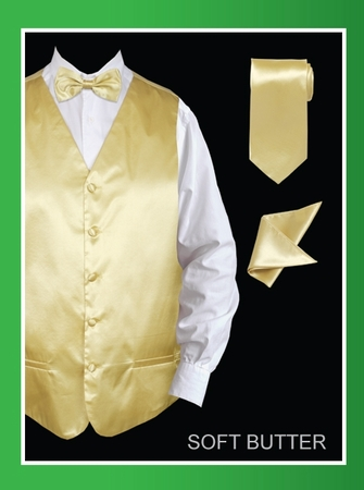 Mens Tuxedo Vest and Bow Tie Butter Yellow Satin VS801 - click to enlarge