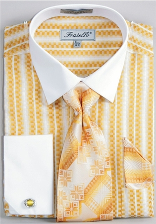 Fratello Mustard Jaquard French Cuff Shirt Tie Set FRV4130P2 - click to enlarge