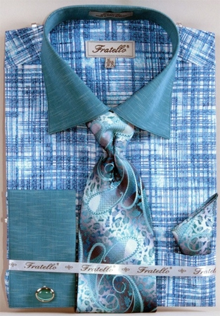 Fratello Turquoise Etch Plaid French Cuff Shirt Tie Set FRV4129P2 - click to enlarge