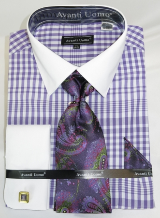 French Cuff Shirt Tie Set Mens Purple Gingham Fabric Fratello DN81M - click to enlarge