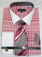 French Cuff Shirt Tie Set Mens Red Gingham Fabric Fratello DN81M