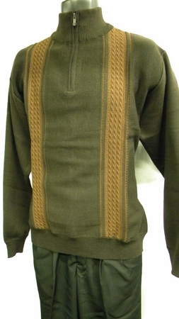 Gachu Mens Brown Mini Cable Zip Mock Neck Sweater 1122 - click to enlarge