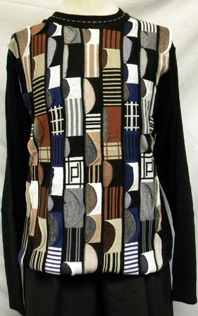 Giogio Mens Black Brown Crew Neck Sweater 1572 - click to enlarge
