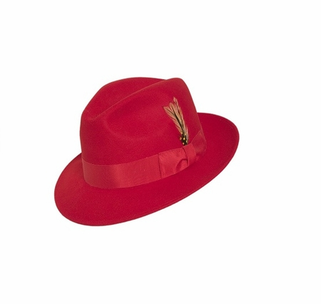 Gangster Hat Men's Red Wool Fedora Untouchable Capas - click to enlarge