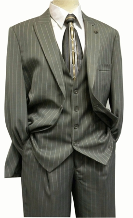Gangster Suit Mens Gray White Stripe Stacy Adams Mars 4017-021 - click to enlarge