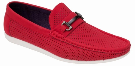 Montique Men's Red Metal Bit Perforated Casual Loafers S45 - click to enlarge