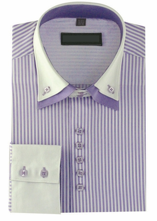 High Collar Clubbing Shirts Mens Lilac Stripe AH606 - click to enlarge