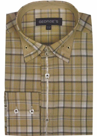 George Mens Beige Plaid Fashion Shirts AH607 - click to enlarge