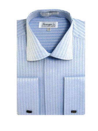 George Mens Blue Tonal Stripe French Cuff Dress Shirt SG30 - click to enlarge