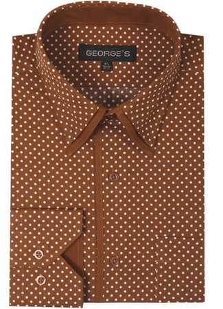 Mens Club Shirt Brown Small Polka Dot Pattern AH617 - click to enlarge