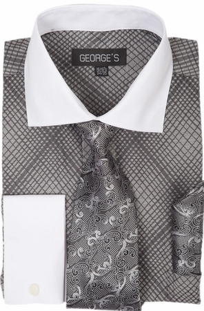 George Mens Dress Shirt Matching Tie and Hanky Black Plaid AH624 - click to enlarge
