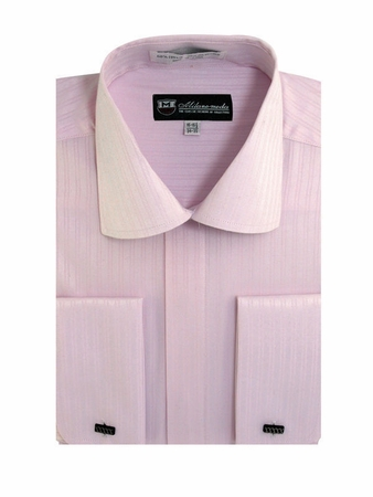 George Mens Pink Tonal Stripe French Cuff Dress Shirt SG30 - click to enlarge