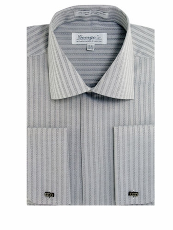 George Mens Silver Tonal Stripe French Cuff Dress Shirt SG30 - click to enlarge