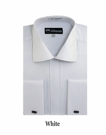 George Mens White Tonal Stripe French Cuff Dress Shirt SG30 - click to enlarge