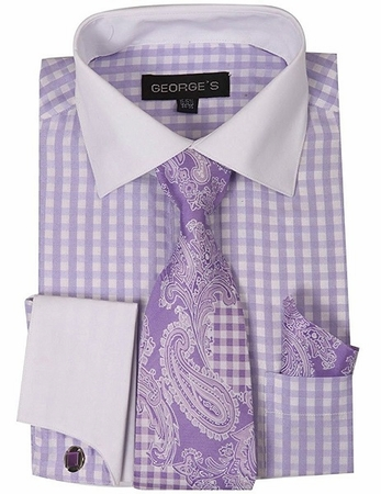 Mens White Collar Dress Shirt Lilac Checker Tie Set AH615 - click to enlarge