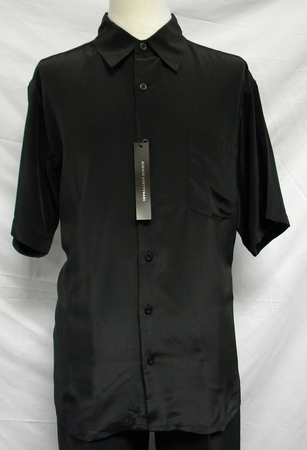 Giogio Mens Solid Black Short Sleeve Casual Shirt 439 - click to enlarge