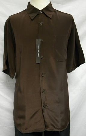 Giogio Mens Solid Brown Short Sleeve Casual Shirt 439 - click to enlarge