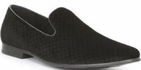 Giorgio Brutini Black Ckecker Pattern Smoking Slippers 179291