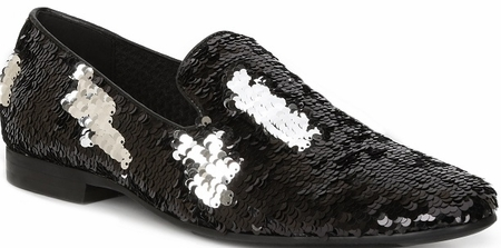 Giorgio Brutini Black Sequin Smoker Loafer Slippers 179301 - click to enlarge