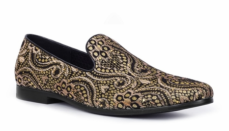 Giorgio Brutini Black Yellow Paisley Smoker Loafer Slippers 179191-4 - click to enlarge