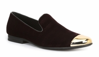 Giorgio Brutini Mens Burgundy Velvet Evening Loafer Metal Toe 179327