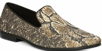 Giorgio Brutini Gold/Black Snake Print Designer Smoking Slippers 179354