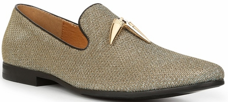 Giorgio Brutini Gold Shark Tooth Sparkle Fashion Smoking Slippers 179174-3 - click to enlarge