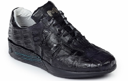 Mauri Italy Mens Black Baby Crocodile Sneakers 8547 - click to enlarge