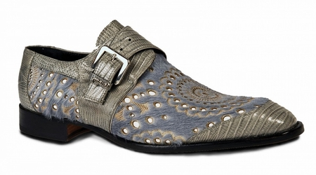 Mauri Shoes Mens Grey Lizard Pony Monk Strap Ceruti 4826 - click to enlarge
