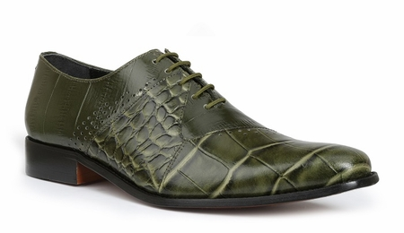 Giorgio Brutini Mens Olive Gator Print Leather Dress Shoes 200185 IS - click to enlarge