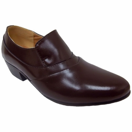 Ditalo Mens Brown Leather Cuban Heel Slip On Shoes 5634 - click to enlarge