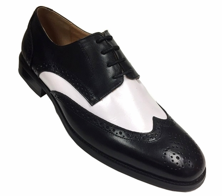 Milano Mens 1920s Black White Leather Wingtip Spectator Shoes 590  IS - click to enlarge