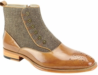 Giovanni Mens Tan Button Up Tweed and Leather Dress Boots Edison