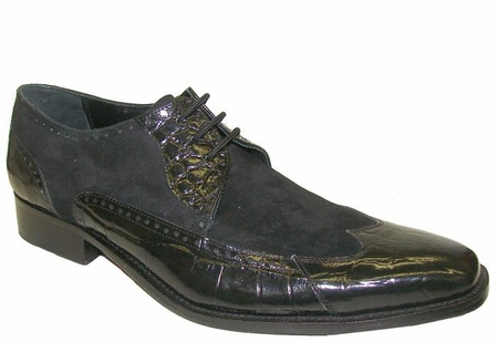 Giorgio Brutini Mens Black Suede Top Wingtip Shoes 210401 IS - click to enlarge