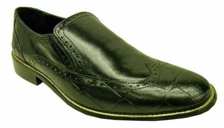 Giorgio Brutini Mens Black Wingtip Vintage Style Loafers 210491 Final Sale - click to enlarge