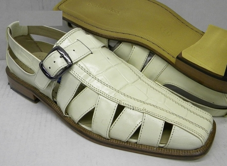 Giorgio Brutini Mens Bone Color Leather Dress Sandals 210149-2 IS - click to enlarge