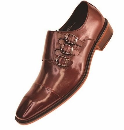 Steven Land Brown 3 Buckle Leather Dress Shoes SL308 IS - click to enlarge