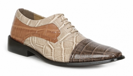 Giorgio Brutini Shoes Mens Brown Alligator Texture Lace Up 211032 IS  - click to enlarge