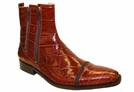 Giorgio Brutini Mens Cognac Brown Zipper Crocodile Print Leather Boots 210214 Final Sale - click to enlarge