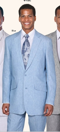 Milano Moda Light Blue Linen Suits 2 Button 612L - click to enlarge
