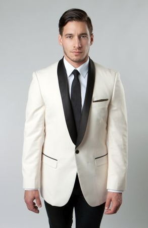 Tazio Mens Ivory Black Dinner Jacket Slim Fit MJ118S - click to enlarge