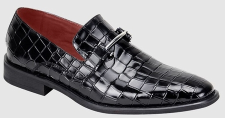 Giovanni Mens Black Gator Print Leather Dress Slip On Dress Shoes Chase - click to enlarge