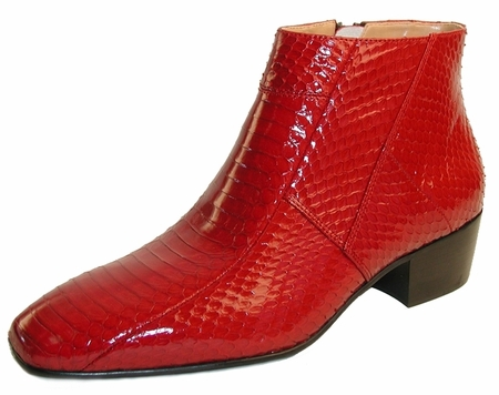 Giorgio Brutini Mens Red Snakeskin Cuban Heel Boots  155490 - click to enlarge