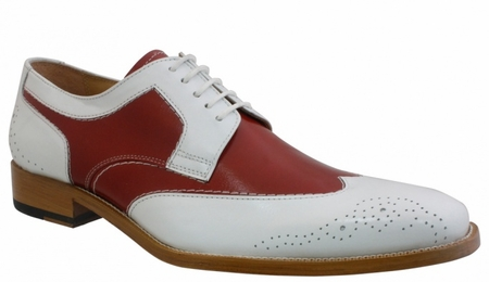 Giorgio Brutini Mens White Red Wing Tip Spectator Shoes 210700 IS - click to enlarge