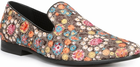 Giorgio Brutini Multi Color Embroidered Floral Pattern Smoking Slippers 179332 - click to enlarge